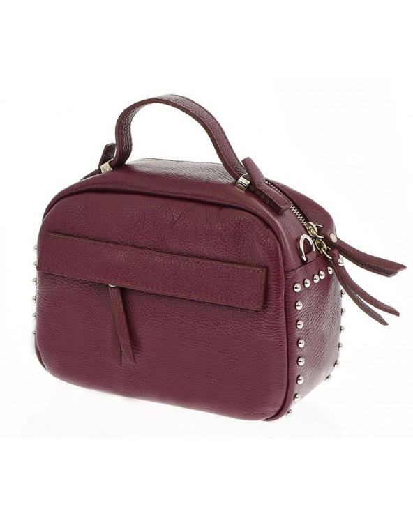 Skórzana listonoszka kuferek z ćwiekami burgund marsala