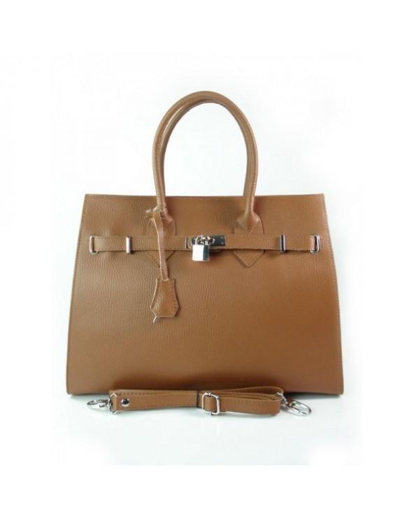 Skórzany kuferek a'la Birkin torebka z kłódką vera pelle camel