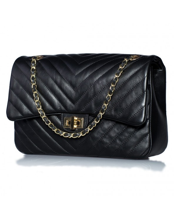 Flap Skórzana torebka włoska pikowana chanelka czarna