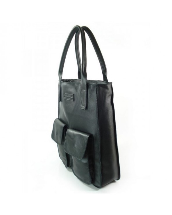 Modna torebka a'la by o la la skórzany shopper worek czarna
