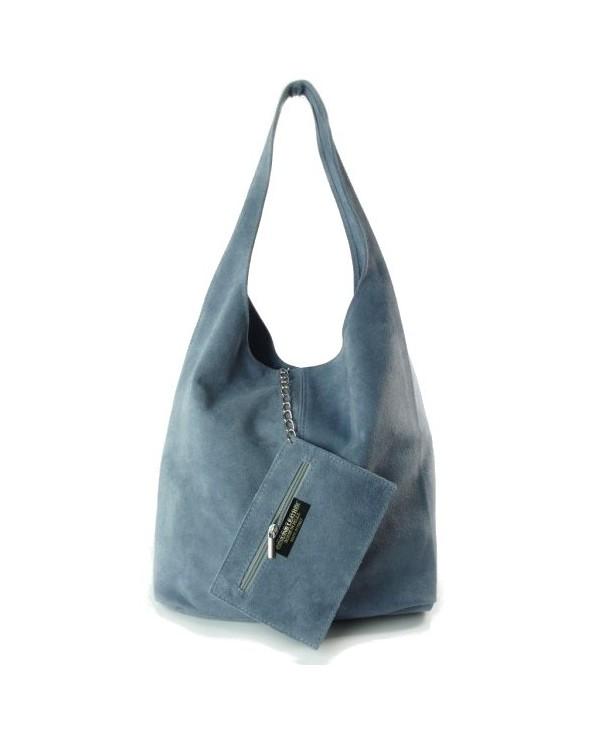 Zamszowy worek torebka vera pelle niebieska
