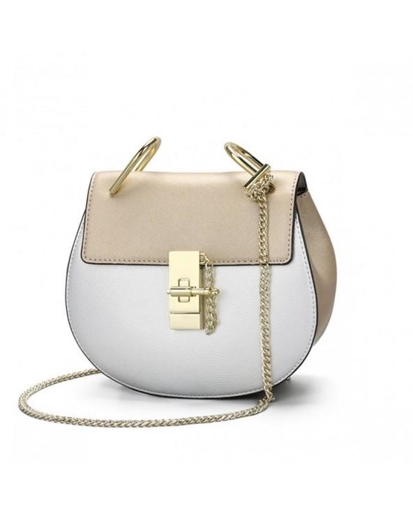 Zjawiskowa półokrągła torebka a'la Chloe Drew Bag złoto-srebrna złota