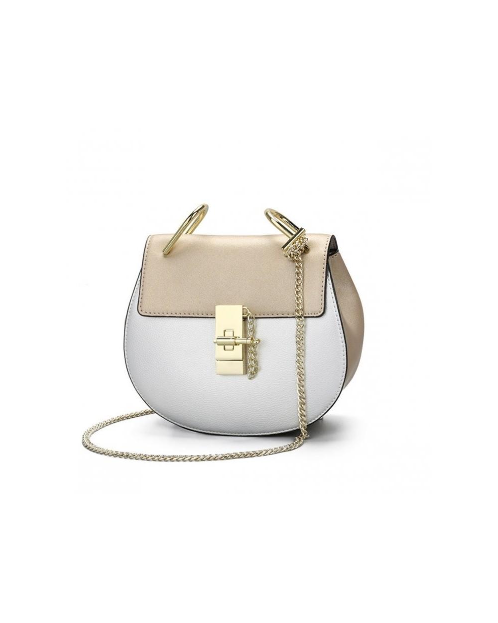 fa8dae1782d3d Zjawiskowa półokrągła torebka a'la Chloe Drew Bag złoto-srebrna złota. ‹ ›