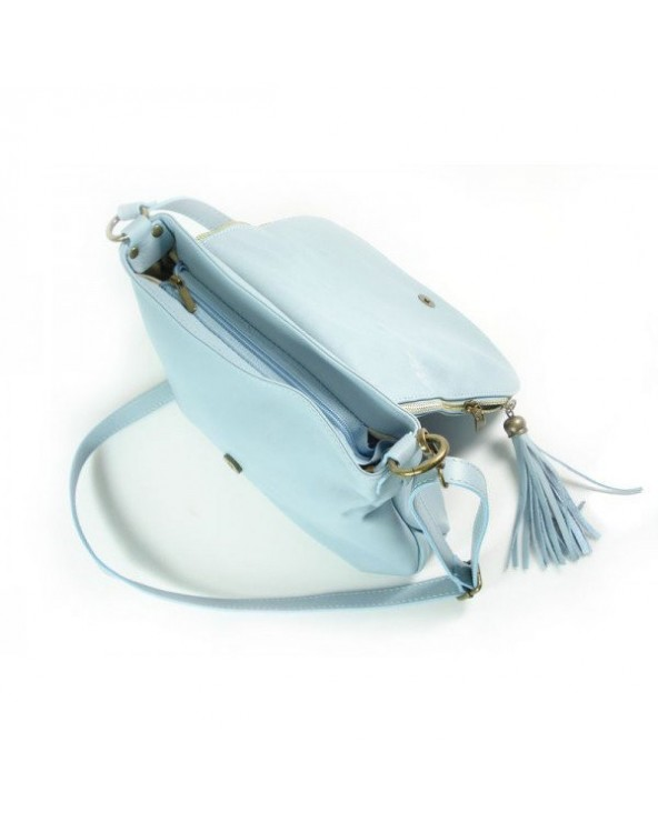 Skórzana listonoszka vera pelle błękitna