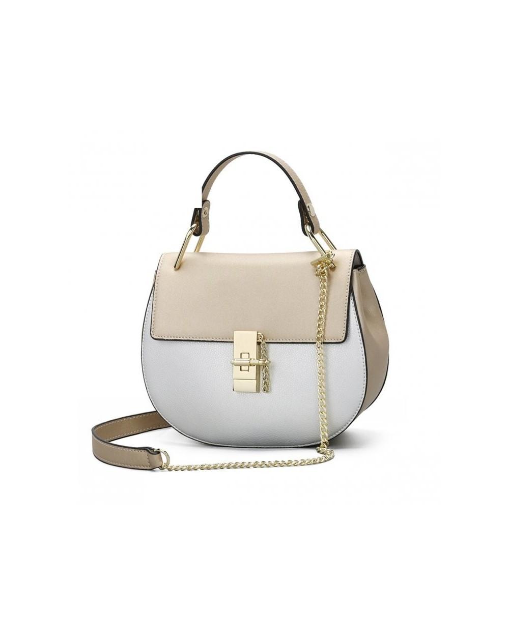 Zjawiskowa półokrągła torebka z uchwytem a'la Chloe Drew Bag złoto-srebrna