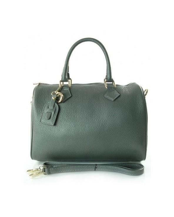 Skórzany kuferek włoska torebka z przywieszką grafit