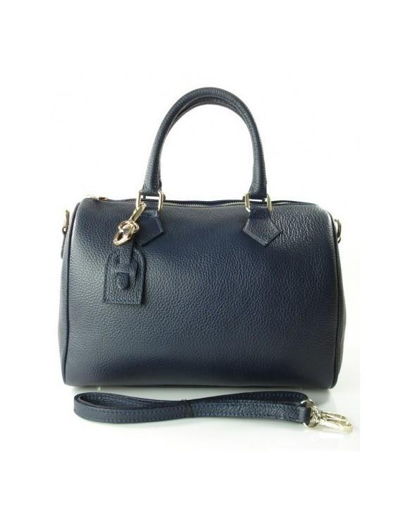 Skórzany kuferek włoska torebka z przywieszką granatowy