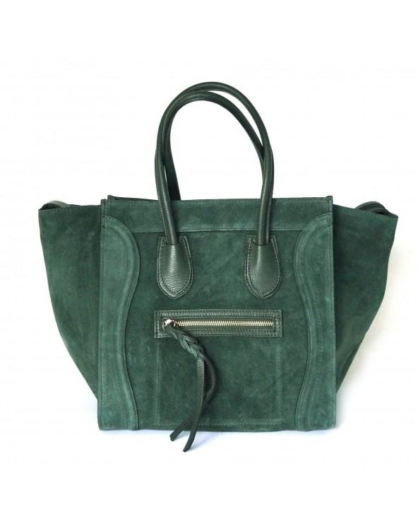 Włoska torebka zamszowa a'la Celine Houston zieleń butelkowa