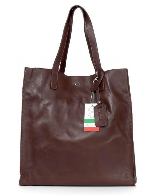 Włoska torebka skórzana vera pelle worek shopper ciemny brąz