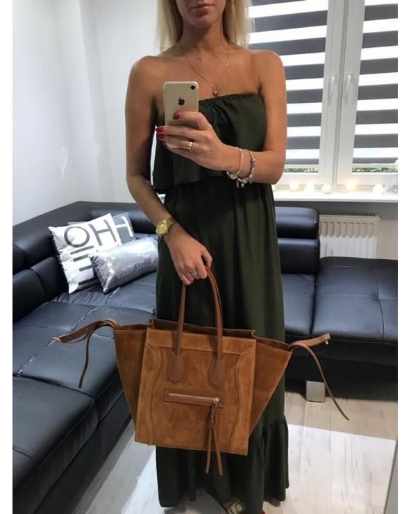 Włoska torebka zamszowa a'la Celine Houston camel ruda