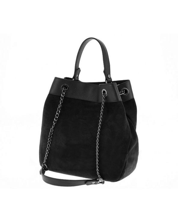 Włoska torebka damska worek kuferek czarna