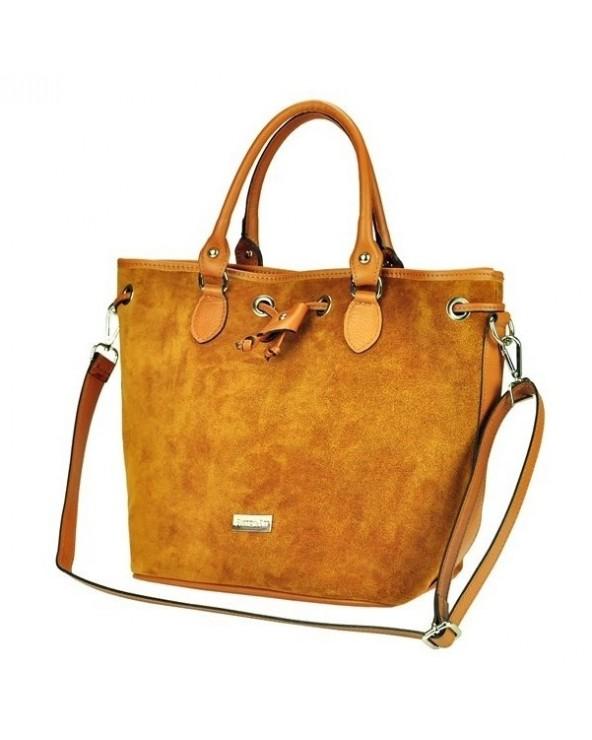 Zamszowa włoska 2-funkcyjna torebka damska szara
