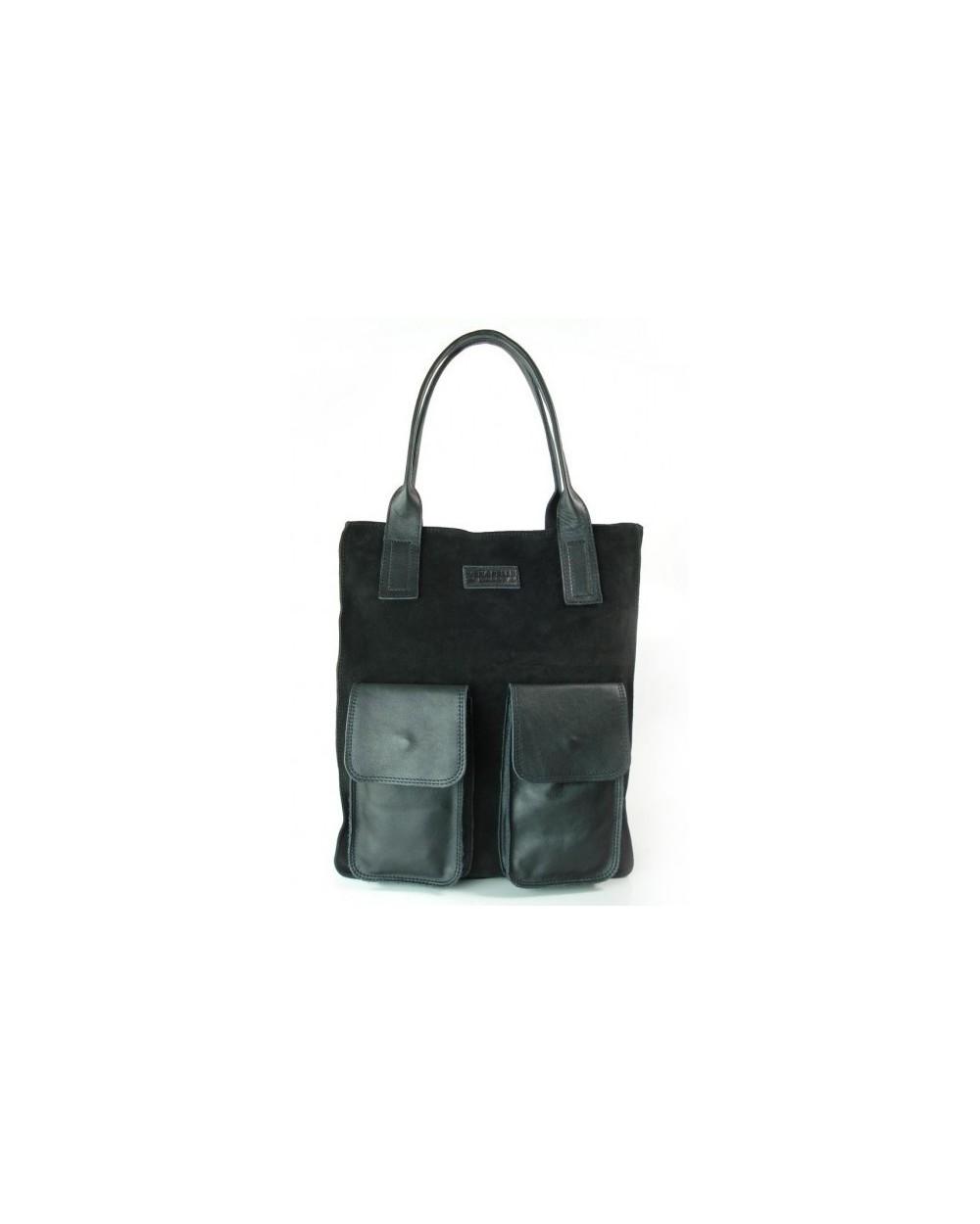 Duża torebka zamszowa XL z 2 kieszeniami czarna