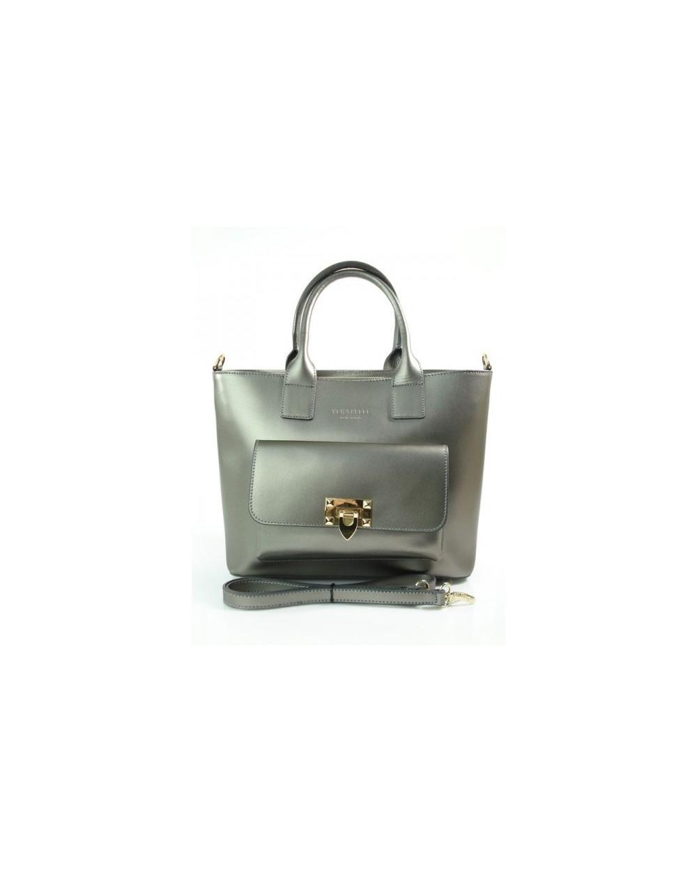 Pojemny damski kuferek ze skóry srebrny metaliczny