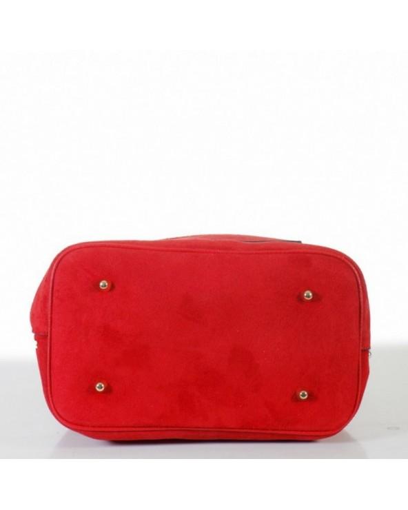 Skórzany zamszowy worek z ćwiekami czerwony