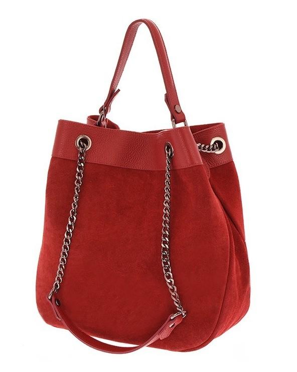 Włoska torebka damska worek kuferek czerwony