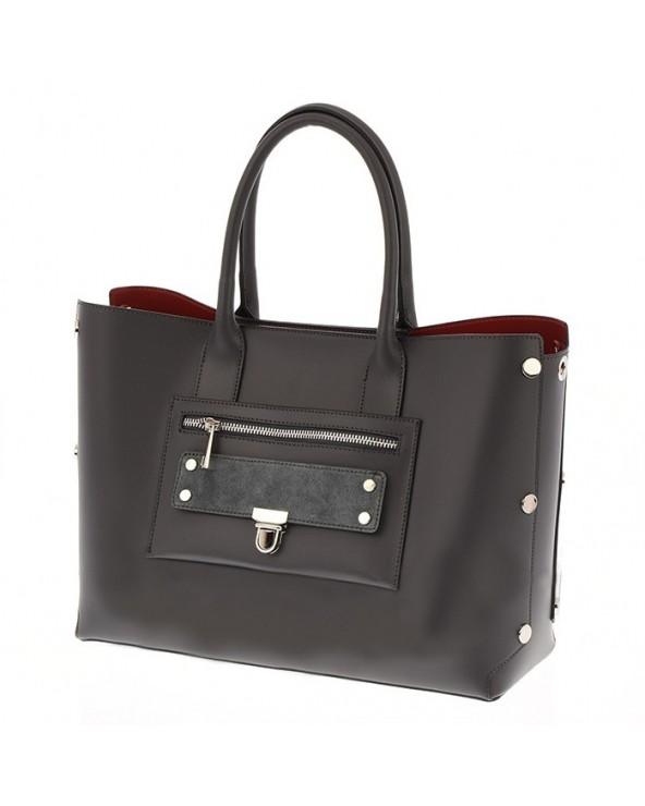 Shopper skórzana torebka z czerwonym wnętrzem szara