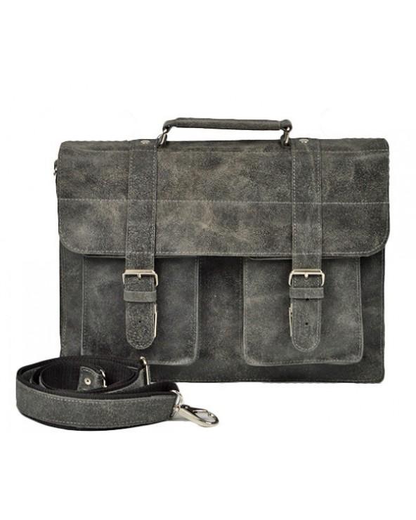 Duża męska skórzana torba na ramię A4 vintage szara