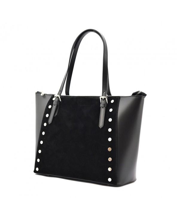 Skórzana torba nowoczesnej elegantki z nitami i zamszem czarna
