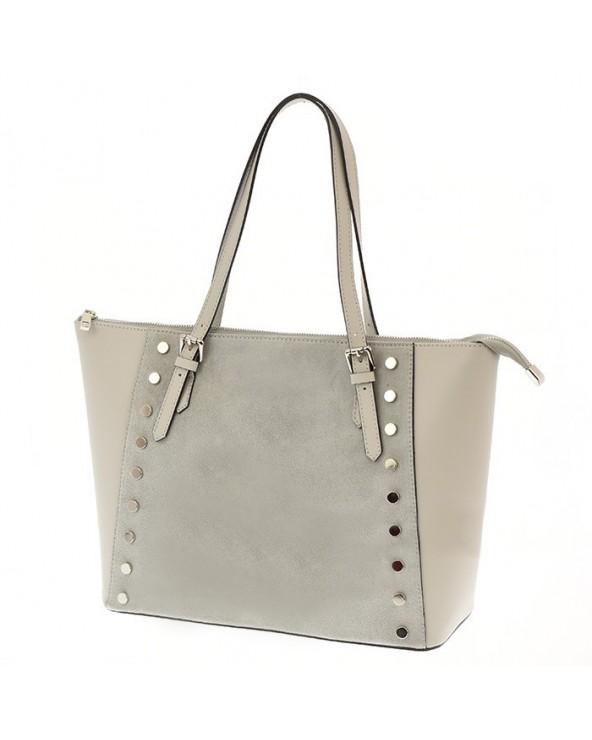 Skórzana torba nowoczesnej elegantki z nitami i zamszem szara