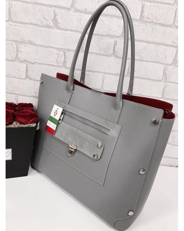 Shopper skórzana torebka z czerwonym wnętrzem