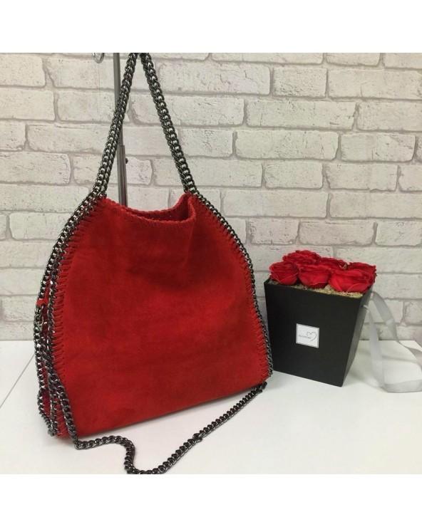 Zamszowa torebka Stella czerwona