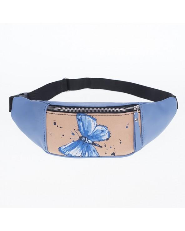Skórzana saszetka nerka z malunkiem motyla niebieska