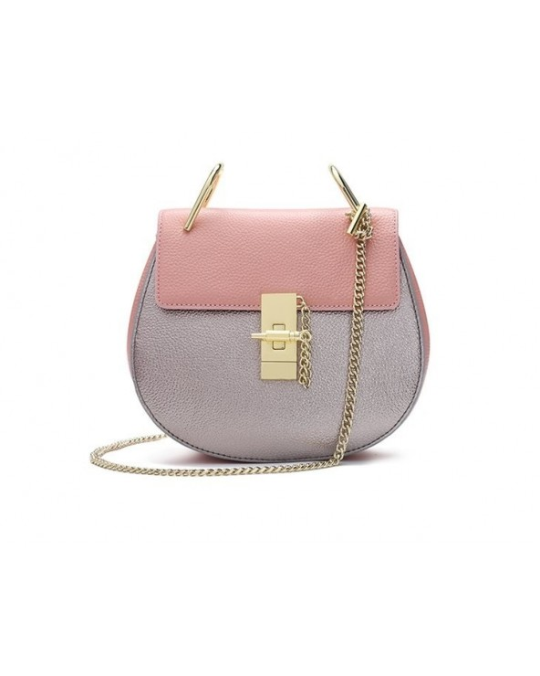 Elegancka okrągła torebka na łańcuszku różowo-srebrna