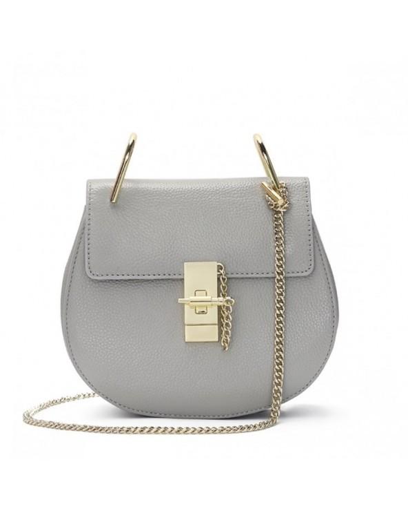 Elegancka okrągła torebka na łańcuszku XL szara