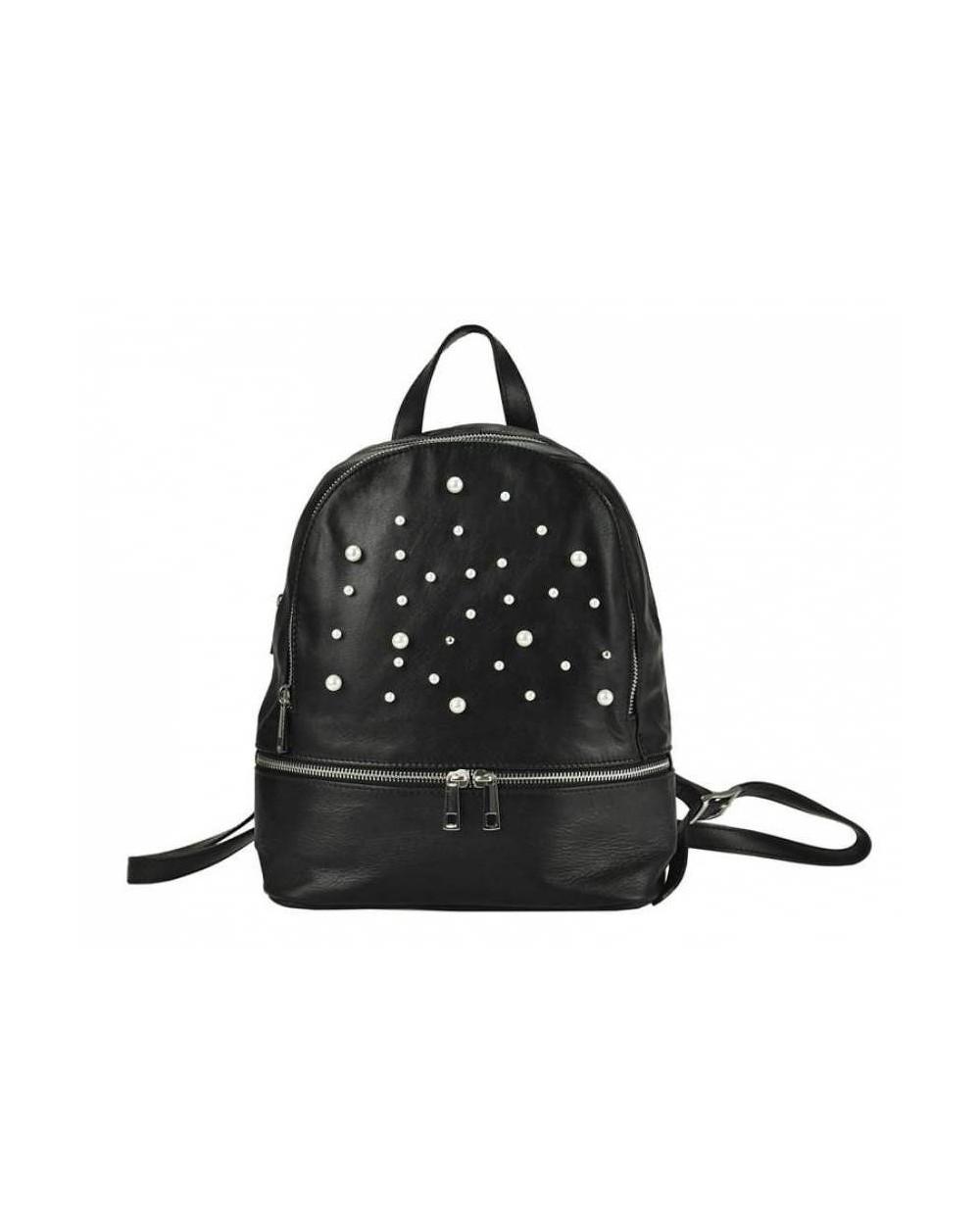 Damski skórzany plecak z perełkami czarny