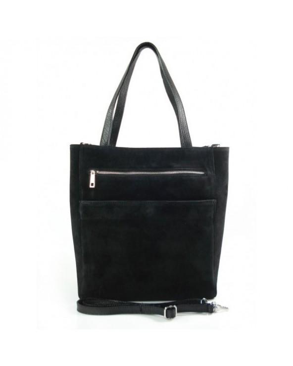 Włoski zamszowa torebka shopper bag czarna