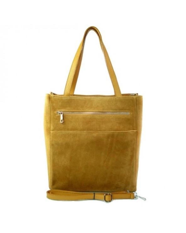 Włoski zamszowa torebka shopper bag camel