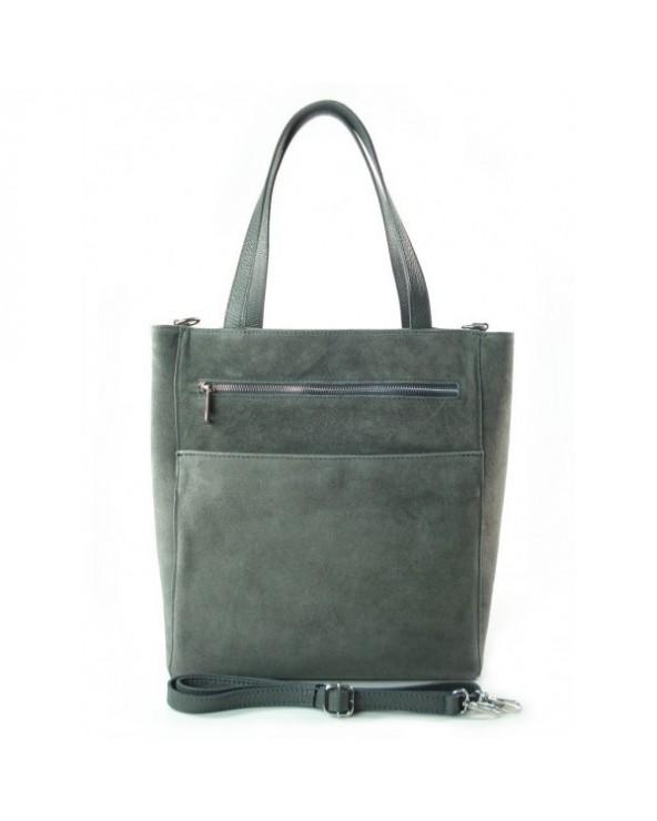 Włoski zamszowa torebka shopper bag szara