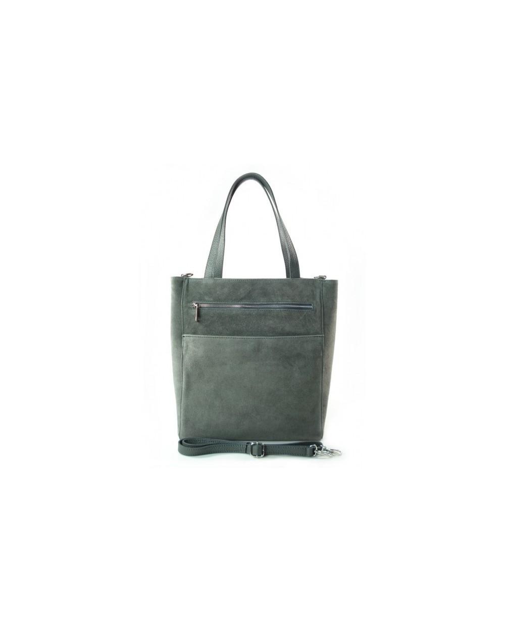 be563e6eb130f Włoski zamszowa torebka shopper bag szara - Sklep internetowy ...