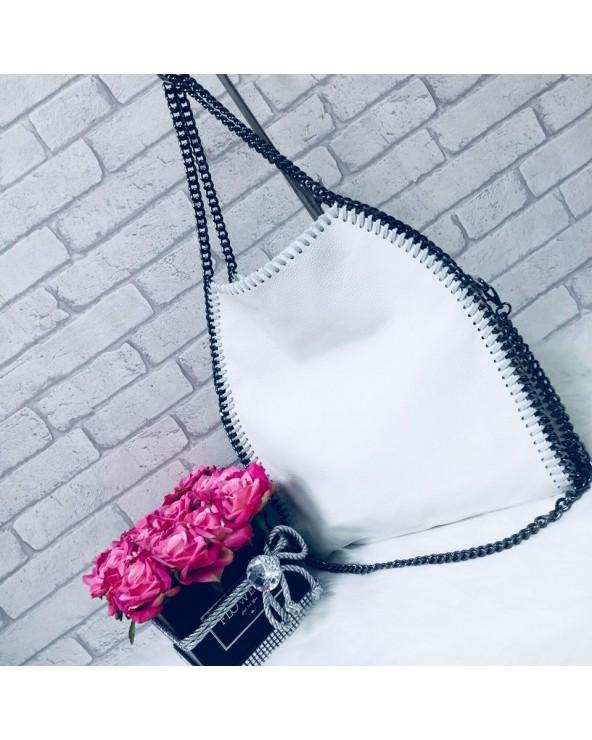 Skórzana torebka Stella zgaszony biała