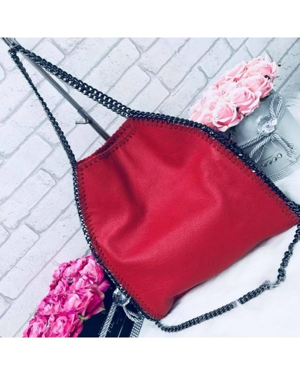 Skórzana torebka Stella czerwona