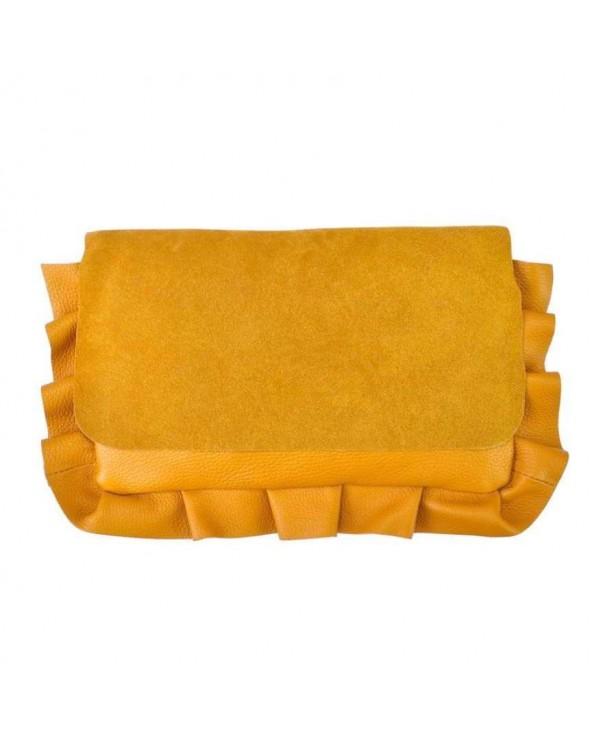 Włoska torebka z falbaną ze skóry naturalnej musztardowa miodowa