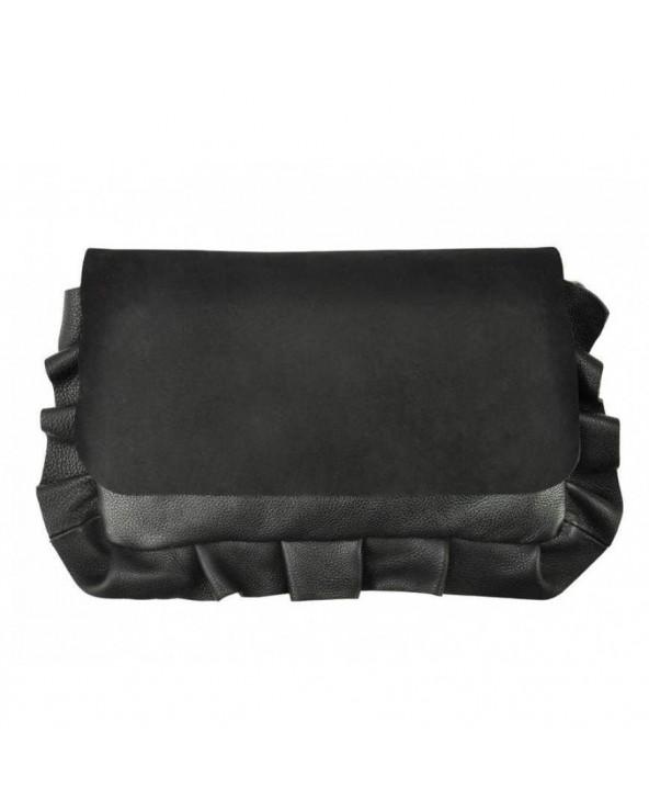 Włoska torebka z falbaną ze skóry naturalnej czarna