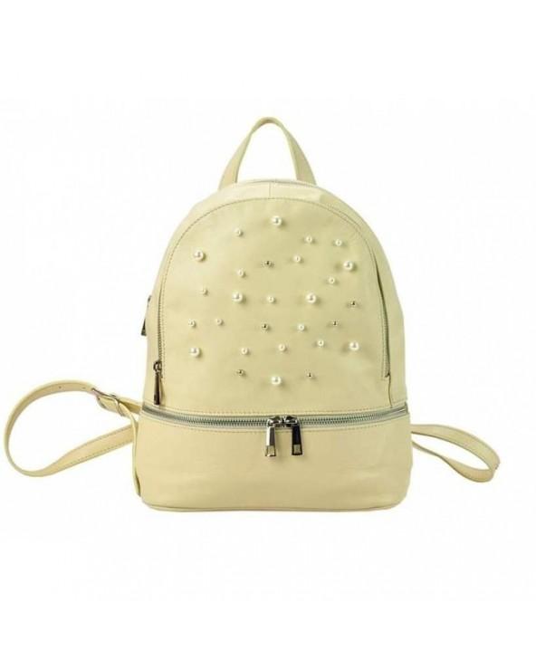 Damski skórzany plecak z perełkami ecru