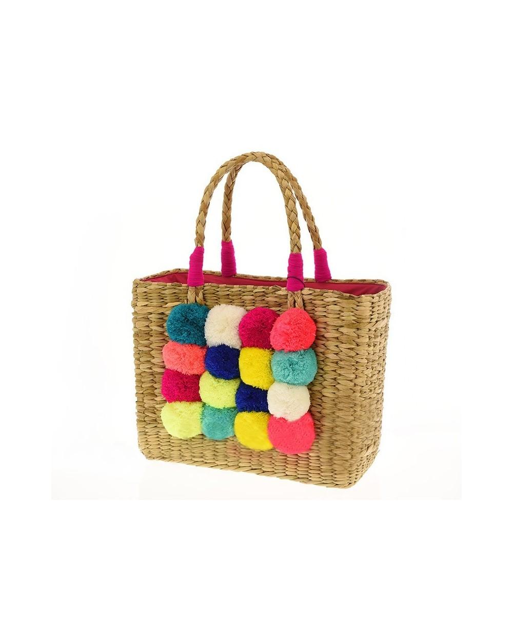 Torebka koszyk designerski z pomponami
