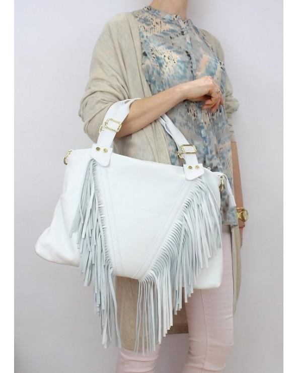 Skórzany worek z frędzlami biała