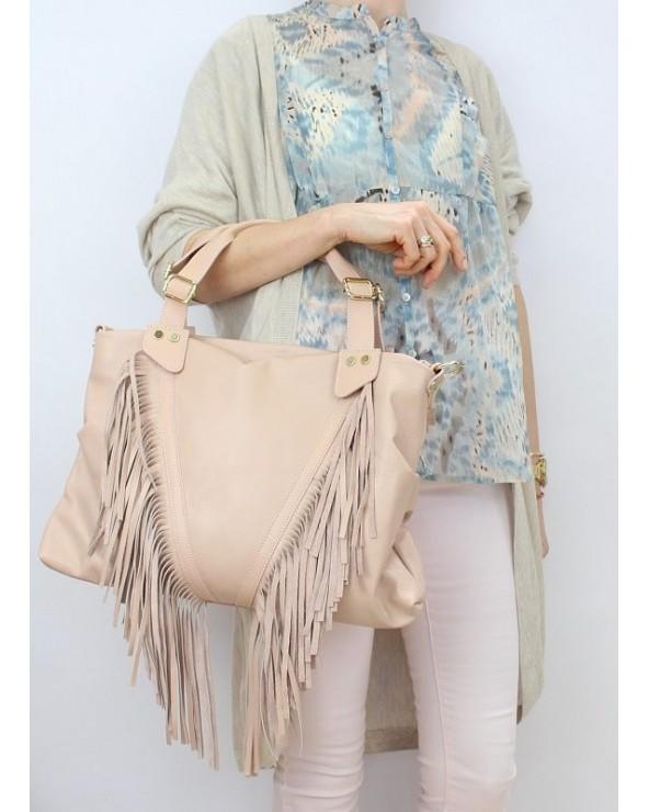 Skórzany worek z frędzlami torebka torba róż pudrowy