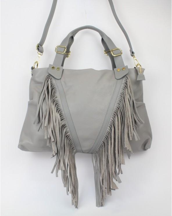 Skórzany worek torebka torba z frędzlami czarna włoska