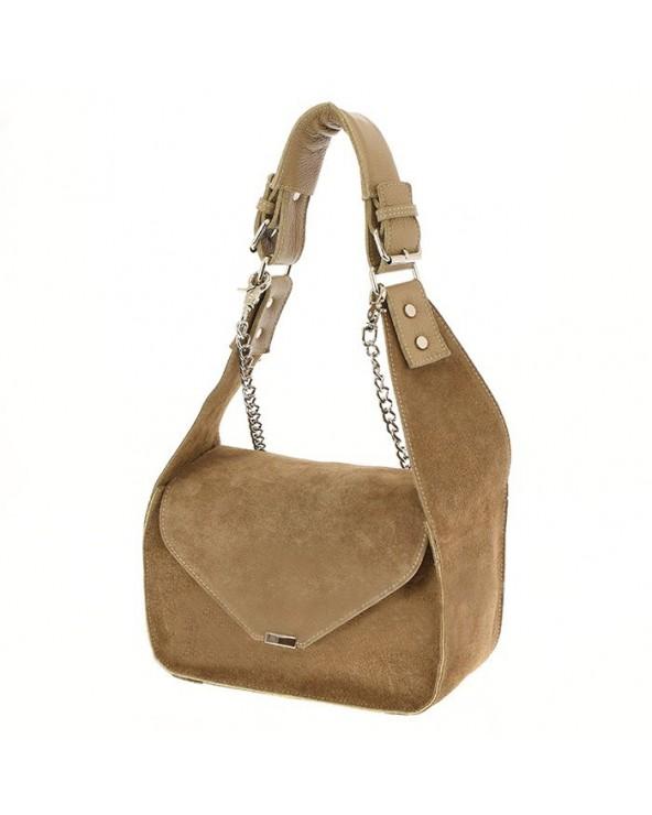 Designerska zamszowa torba vera pelle beżowa