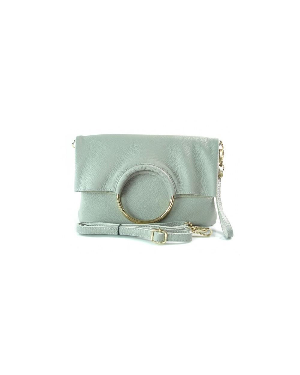 e672b01292099 Niesamowita torebka włoska 2 w 1 listonoszka shopper jasnoszara. ‹ ›