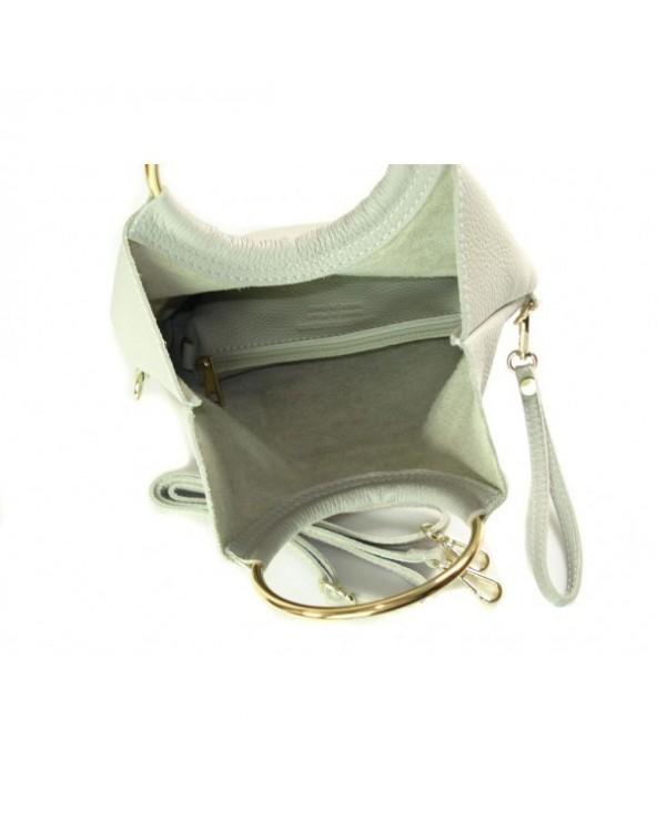Niesamowita torebka włoska 2 w 1 listonoszka shopper jasnoszara
