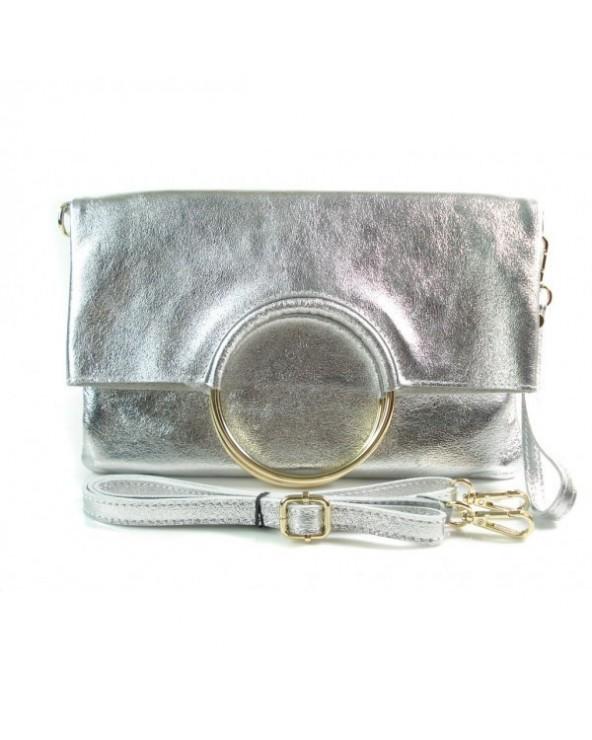 Niesamowita torebka włoska 3 w 1 listonoszka shopper srebna metaliczna