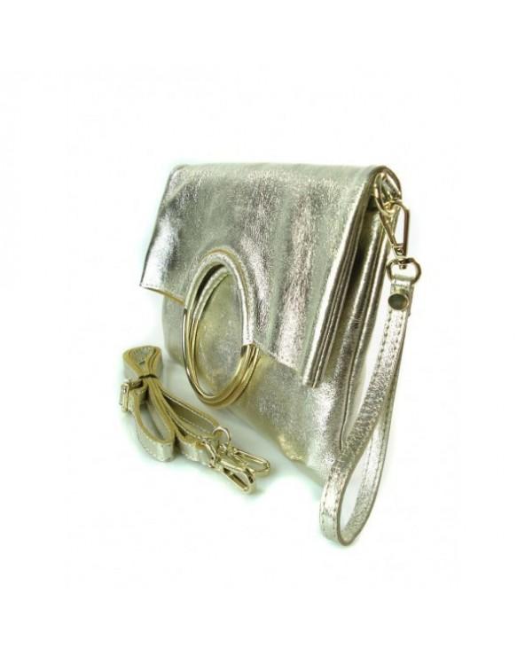 Niesamowita torebka włoska 3 w 1 listonoszka shopper złota metaliczna
