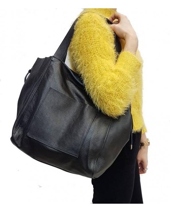 Włoska duża torba na ramię z miękkiej skóry naturalnej jasny szary