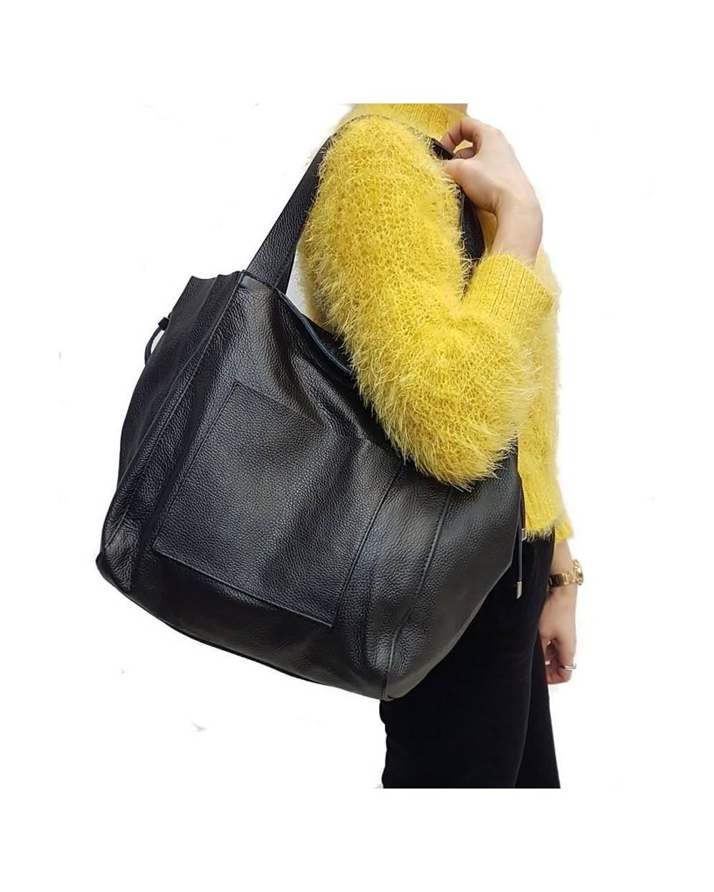 d0f8e5c5b6b2c Włoska duża torba na ramię z miękkiej skóry naturalnej jasny szary